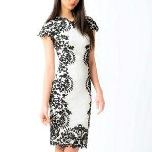 Tadashi Shoji Black & White Lace Dress Size 6